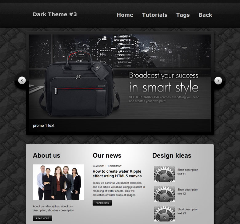 creating a dark and clean html css website layout. Black Bedroom Furniture Sets. Home Design Ideas