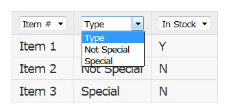 Dropdown Table Filter
