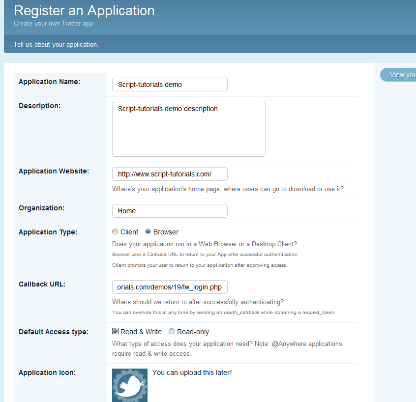 How to Post on Twitter from your Website using OAuth