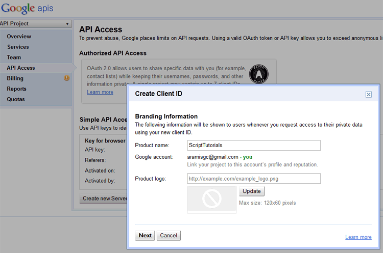 Google Contacts API - step 1