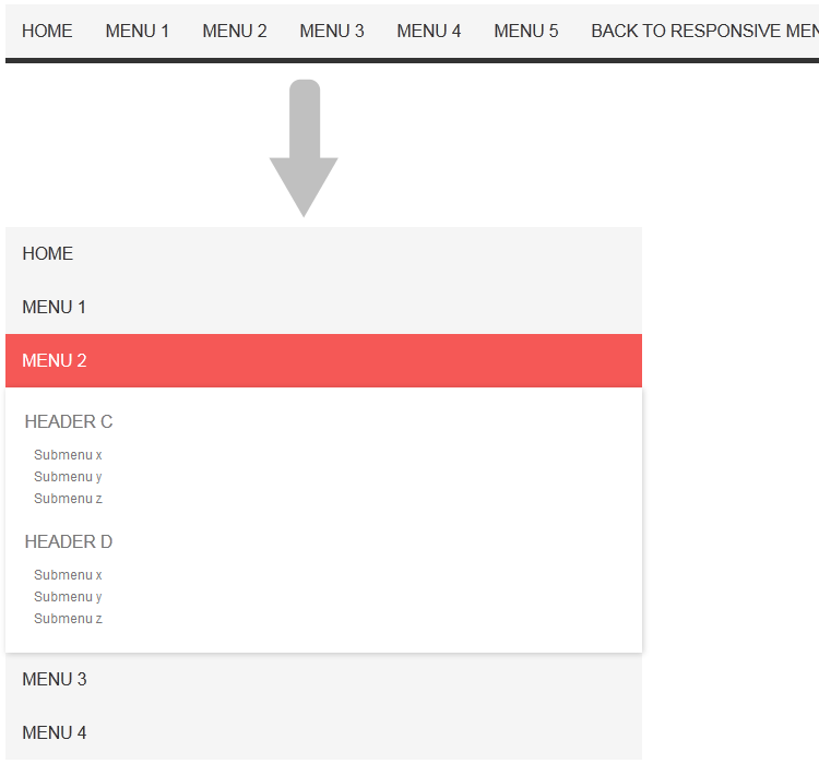 Responsive menu