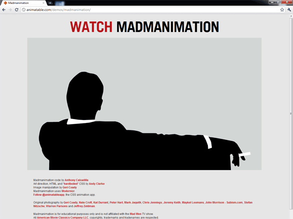 Madmanimation demo in Chrome