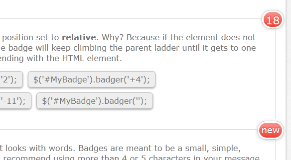 Badger - Super sexy iOS style badges for jQuery - Free