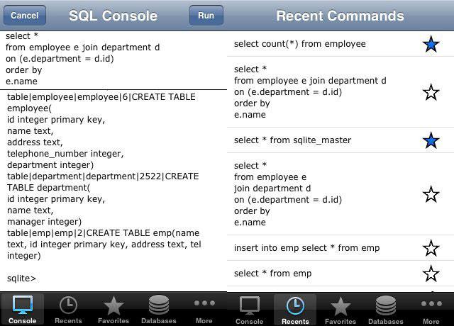 SQLite Database Console