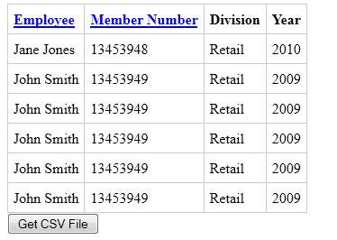 Exportable CSV Table