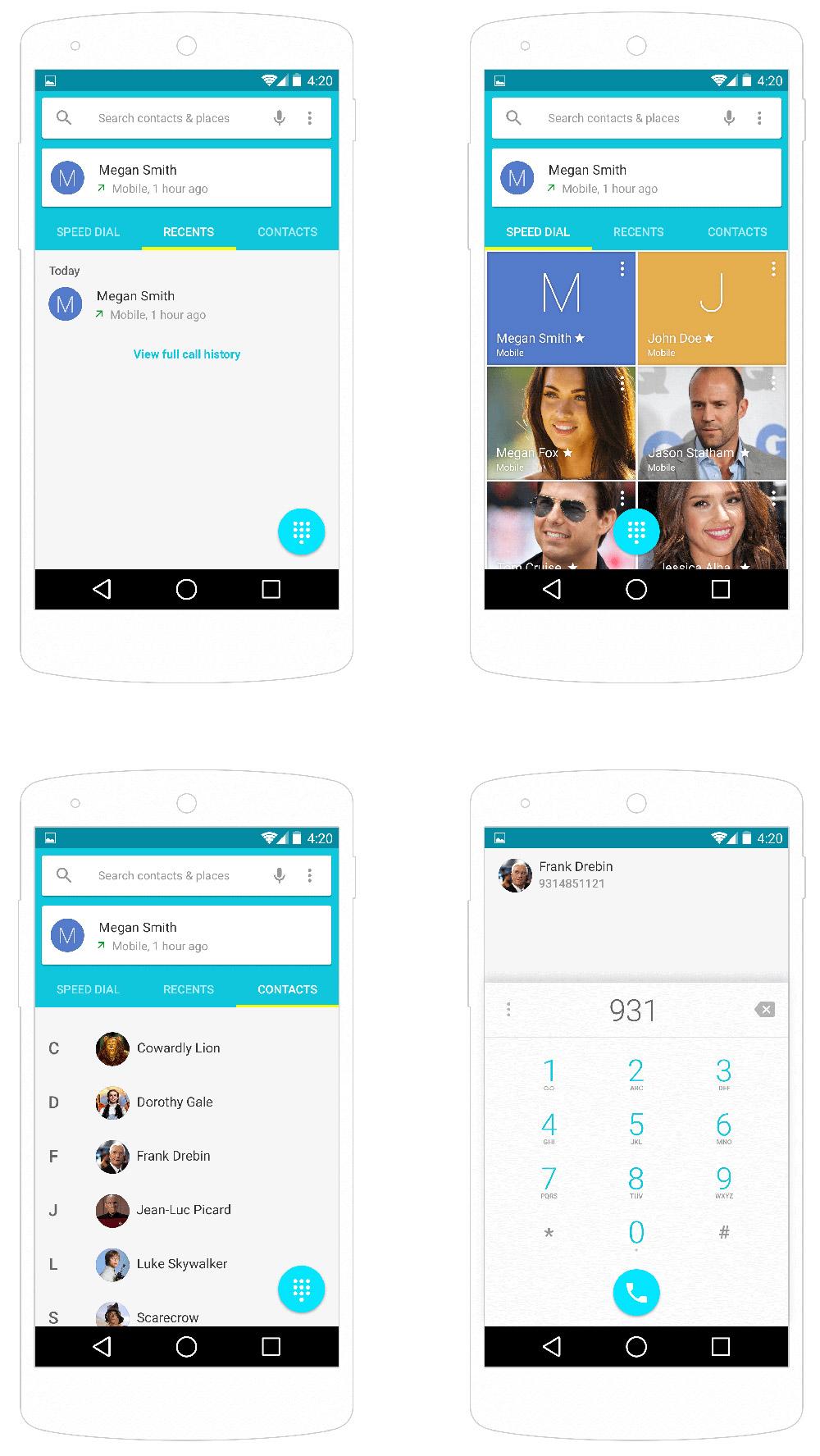 Android L Contats UI PSD