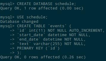 MySQL database creation